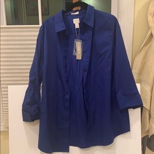 NWT Chico's no iron blue button down
